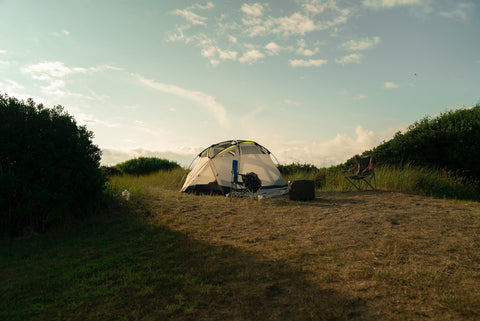 Camping tent set up outside