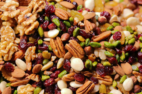 Mix of almonds, nuts, seeds, and fruit
