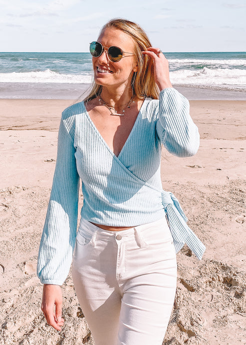 Bluebird Knit Wrap Top