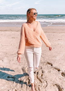 Just Peachy Crossover Sweater - Sugar & Spice Apparel Boutique