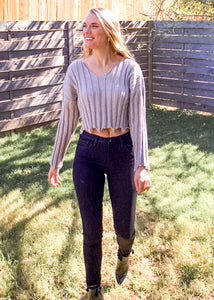 Too Much Cropped Distressed Sweater in Grey - Sugar & Spice Apparel Boutique