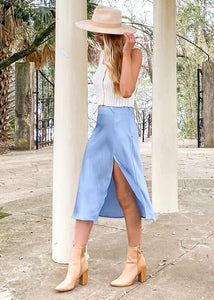 Too Cool Satin Midi Slit Skirt - Sugar & Spice Apparel Boutique