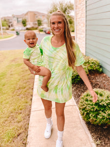 Mama & Baby Matching Tie Dye Tees in Limelight (Baby Sizes) - Sugar & Spice Apparel Boutique