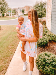 Mama & Baby Matching Tie Dye Tees in Rainbow Swirl (Mama Sizes)