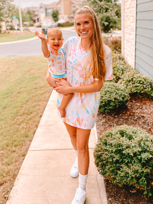 Mama & Baby Matching Tie Dye Tees in Rainbow Swirl (Baby Sizes)