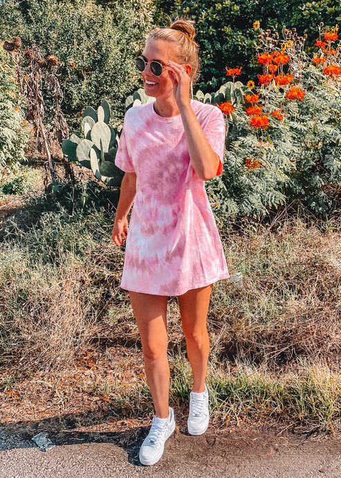 Just Peachy Oversized Tie Dye Tee