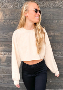 Coffee Date Cropped Sweatshirt in Taupe - Sugar & Spice Apparel Boutique