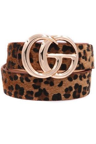 Faux Fur Gucci Belt in Leopard - Sugar & Spice Apparel Boutique