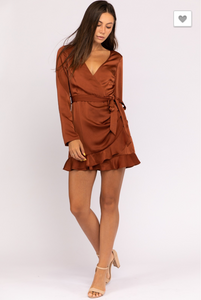 Speechless Satin Ruffle Wrap Dress - Sugar & Spice Apparel Boutique