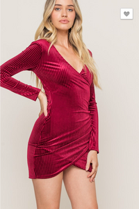 Red Hot Velvet Bodycon Dress