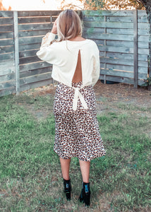 Circle of Life Leopard Satin Midi Skirt - Sugar & Spice Apparel Boutique