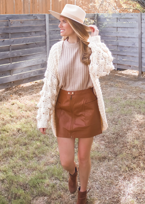 Cozy Nights Pom Sleeve Cardigan
