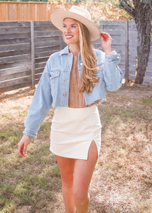 Love Ain't Corduroy Skirt in Ivory