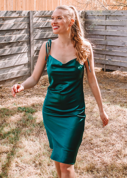 Flawless Satin Slip Dress in Emerald - Sugar & Spice Apparel Boutique