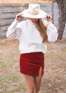 Love Ain't Corduroy Skirt in Chili - Sugar & Spice Apparel Boutique