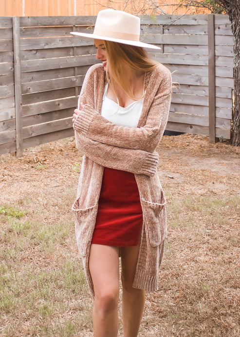 Fireside Chats Cardigan in Taupe - Sugar & Spice Apparel Boutique