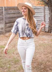 Miss Me More Snakeskin Crop Top - Sugar & Spice Apparel Boutique
