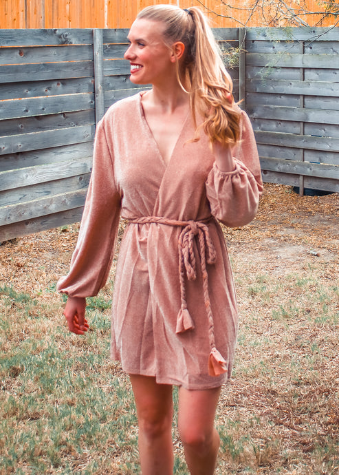 Shimmer To Me Wrap Dress