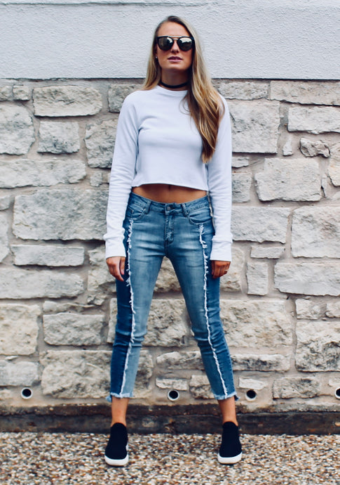 Two Faced Frayed Jeans - Sugar & Spice Apparel Boutique