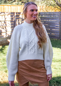 City Girl Cable Knit Sweater in Ivory - Sugar & Spice Apparel Boutique
