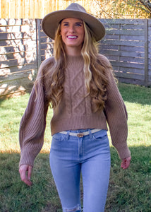 City Girl Cable Knit Sweater in Taupe - Sugar & Spice Apparel Boutique