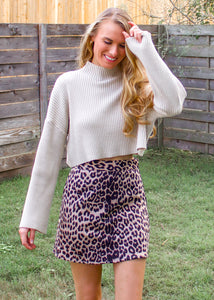 Jungle Fever Leopard Print Skirt in Taupe - Sugar & Spice Apparel Boutique