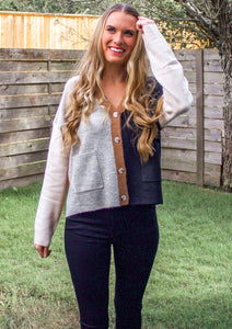 Blurred Lines Color Block Cardigan - Sugar & Spice Apparel Boutique
