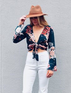Flower Power Tie Crop Top - Sugar & Spice Apparel Boutique