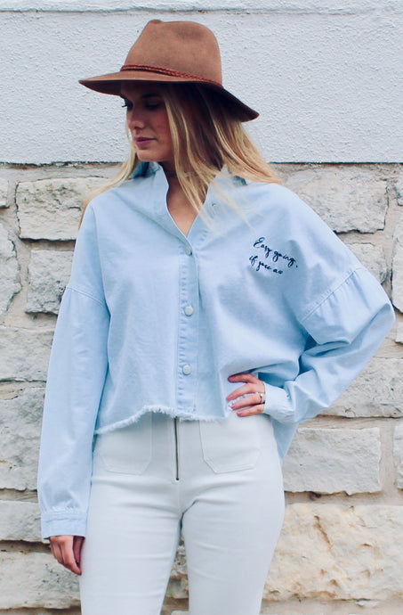 Easy Going Crop Button Down - FINAL SALE - Sugar & Spice Apparel Boutique