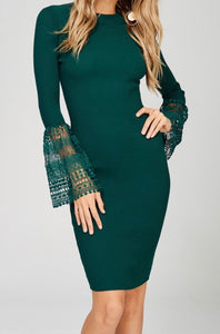 Untouchable Dress with Lace Bell Sleeves - Sugar & Spice Apparel Boutique