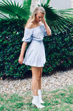 Everything is Blue Off the Shoulder Dress - Sugar & Spice Apparel Boutique