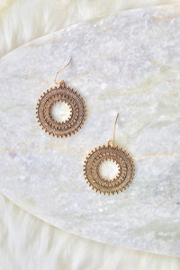 Sun Medallion Vintage Earrings in Gold - Sugar & Spice Apparel Boutique