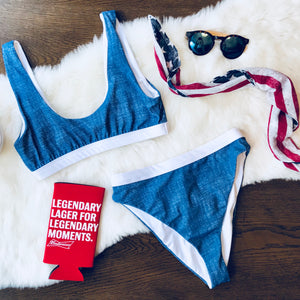 Blue Jean Baby Bikini Top - FINAL SALE - Sugar & Spice Apparel Boutique