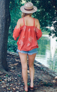 Sweet Tangerine Embroidered Top - Sugar & Spice Apparel Boutique