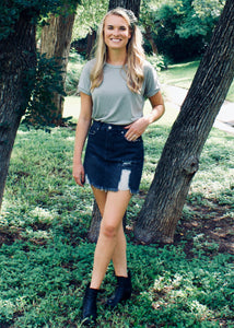 Smoking Gun Distressed Denim Skirt - Sugar & Spice Apparel Boutique