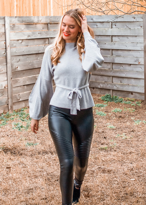 Deja Vu Balloon Sleeve Sweater - Sugar & Spice Apparel Boutique