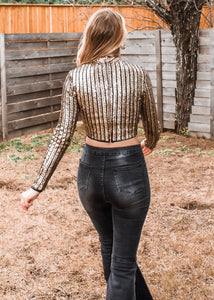 Pop Bottles Sequin Crop Top - Sugar & Spice Apparel Boutique