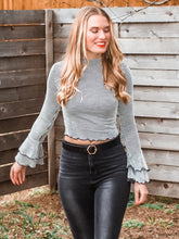 White Stripes Bell Sleeve Crop Top - Sugar & Spice Apparel Boutique