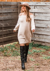 Can't Get Enough Off the Shoulder Sweater Dress - Sugar & Spice Apparel Boutique