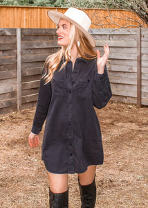 Risky Business Pocketed Shirt Dress - Sugar & Spice Apparel Boutique