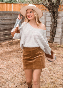 Out of the Office Corduroy Skirt in Taupe - Sugar & Spice Apparel Boutique
