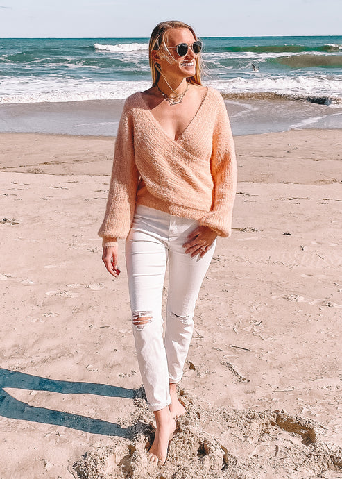 Just Peachy Crossover Sweater