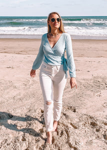 Bluebird Knit Wrap Top - Sugar & Spice Apparel Boutique