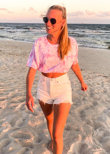 Bubblegum Tie Dye Crop Top Tee