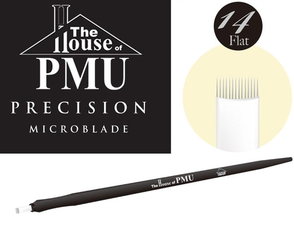 The House of PMU PRECISION Microblade 14 Pins Flat or Slant - VU LONDON PMU UK
