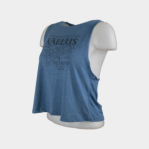 Detroit Map Cropped Tank - Deep Teal Heather