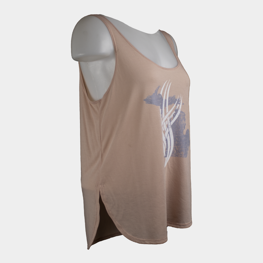 Torched Michigan Divide Tank - Peach