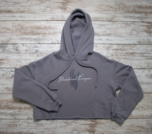 Cursive Cropped Hoodie - Midnight