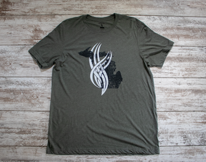 Torched Michigan Tri-Tech Tee - Military Green