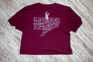 Detroit Hand Cropped Tee - Maroon